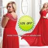 Hot Sale Long Good Quality Chiffon Cap Sleeve Beaded Red Evening Dress