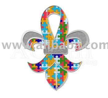 """Fleur-de-Lis Autism Awareness Puzzle Ribbon """"HOPE"""" Pins"""