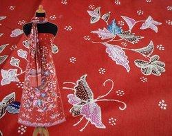 Batik Tulis Motif Bunga & Kupu-kupu 5 Warna Latar Oranye