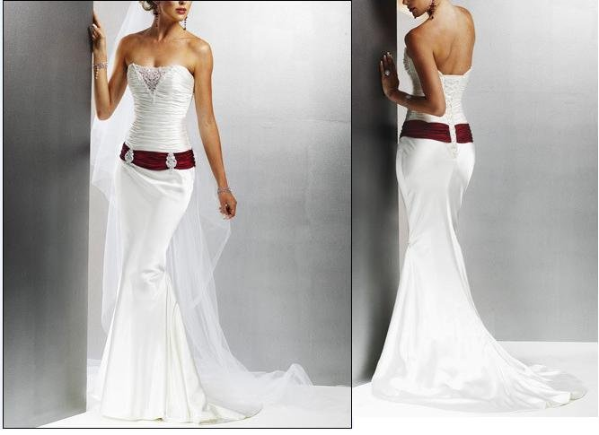 Brand New Satin Embroidery Red And White Wedding Dress Bridal Gown