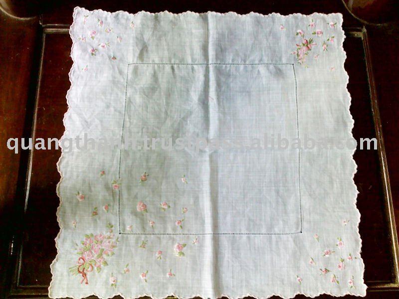how to machine embroider handkerchiefs