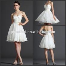 Sexy Appliques Pleat Empire Organza Sweetheart Short Wedding Dress