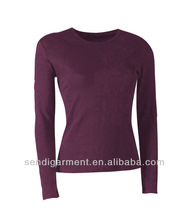 Ladies long sleeve cotton blank t shirt,