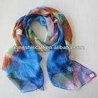 Fashion polyester print chiffon lady scarf watch