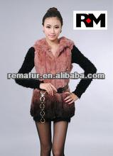 Knitted Rex rabbit fur vest