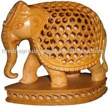 Madera estatuas de elefantes / talla de madera de encargo