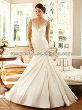 Oumeiya OWD174 2014 Custom Made Sparkle Spaghetti Strap V-neck Open Back Wedding Dress 2013 New Design