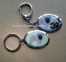 Oval Keychain with Animal Picture Epoxy Coated