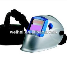 Auto darkening solar powered air welding helmet