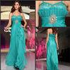 Popular Beaded Ruched Pleat Chiffon and Sweetheart Spaghetti Strap Long Straight Empire Evening Dress Fashion 2013
