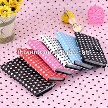 FL2163 2013 guanzhou fashion polka dot wallet leather case for ipod Touch 5