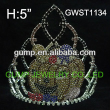 beautiful Halloween pumpkin pageant custom rhinestone tiara crown -GWST1134