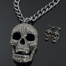Rhinestoned Chunky Skull Fashion Necklace Earrings Set,gun black color