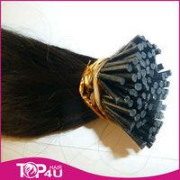 Indian Black Remy Virgin human I-Tip Straight Prebonded Hair