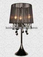 Black Crystal Bead Chandelier Table Lamp