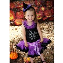 Halloween Purple Black Tutu Pettiskirt Spider Web Rhinestone Shirt Witch Costume