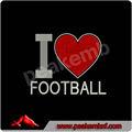T- shirt de hierro sobre la transferencia de diamantes de imitación, me encanta el fútbol motivo de diamantes de imitación