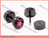 Pentagram logo fake plugs piercing men and women ear earring body jewelry