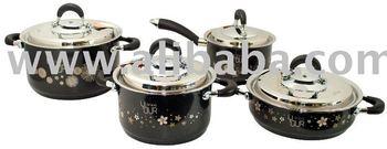 Black Pearl 3D Pattern Engraved Cookware Set