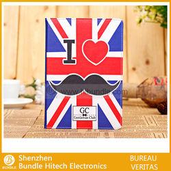 Cute Mustache Flip Folio Leather Case Smart Cover for iPad Mini