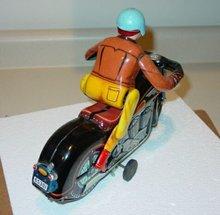 Vintage Jap Tin Batt Op Atom Motorcycle With Rider #2