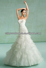 New Good Quality Floor Length Organza Strapless Tulle Wedding Dress 2013