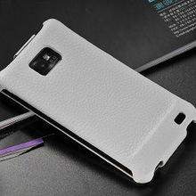 Wholesale best selling products graceful white high quality genuine leather flip case for samsung galaxy s2 i9100