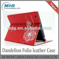 Dandelion Folio PU leather case for ipad ,for ipad 3 case