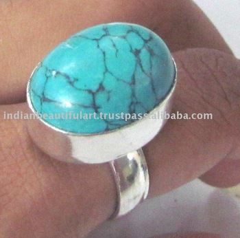 ROUND SMALL BEAUTIFUL TURQUOISE WOMEN FINGER RING