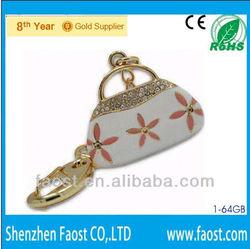 gem stone bag pen flash, crystal gift lady bags flash usb