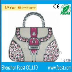 gem stone bag pen flash 8gb, crystal gift lady bags flash usb
