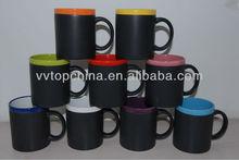colored rim new product 11oz chalk mug,write on coffee mugs