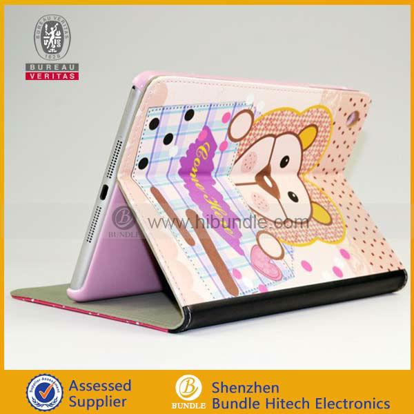 Lovely New Fashion Design High Quality Cute Cartoon dog Pattern Flip Folio Leather Case Cover for ipad mini