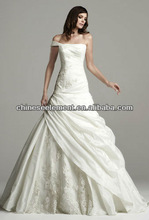 Exquisite One Shoulder Ruffule Floor Length Satin&Lace Wedding Gown Dress 2013