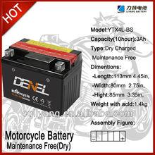 YTX4L-BS Lead acid motorcycle battery best price (motorcycle batteries)