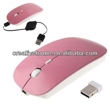 2.4GHz Wireless Optical Mouse with USB Mini Receiver & USB Retractable Cable, Working Distance: 10m