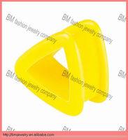 triangle shaped yellow silicone custom ear gauge plugs ear tunnels piercing body jewelry