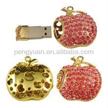 Crystal red apple jewelry, red apple usb flash stick memory (PY-U-201)