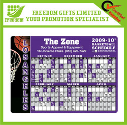 Customized Logo Printed Promotional Calendar Fridge Magnet