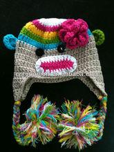 rainbow sock monkey crochet hat Baby Boy/Girl Crochet Owl Animal Beanie Hat cute baby crochet hat