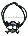 Halloween Accessory Black & Pink Bling Skull Crossbones Bracelet Metal Skulls Embellished with Acrylic Stones