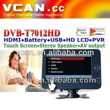Digital car dvb-t receiver converter DVB-T7012 HD with 7 inch tablet pc gps dvb-t Output