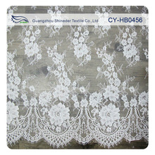 300cm wide lace white 100% nylon wedding lace fabric /scalloped edged lace for wedding dress CY-HB0456