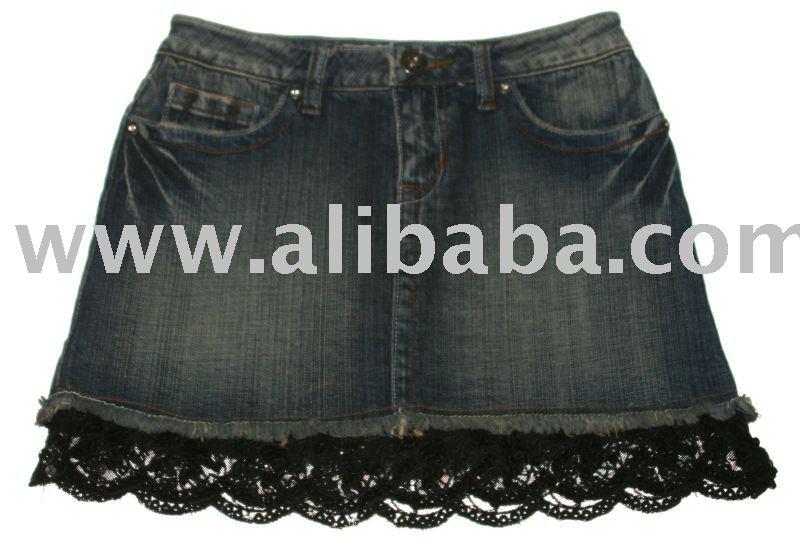 Девушки джинсовая юбка с кружево