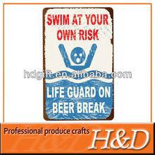 no swim/drinking metal custom warning safety sign