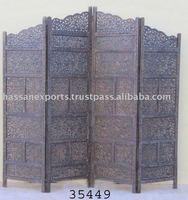 Sheesham Carved Wooden 4 Pannel Screen/Room Divider Antique Finish