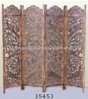 MDF Carved Wooden 4 Pannel Screen/Room Divider