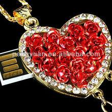 Fancy rose usb flash drive , beautiful gifts heart shape rose usb stick (PY-U-430)