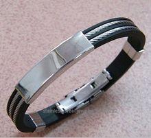 2014 China high quality fashion stainless steel silicone bracelet american flag shamballa bracelet OEM