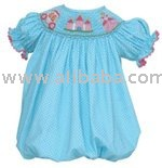 fabric leather fur baby Infant Claire & Charlie Girls Smocked Cinderella Princess Castle - Aqua Polka Dots Bubble bibs Toddlers